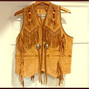 Scully Western Cowgirl suede leather vest size 36
